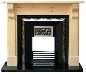 Cast Iron highlighted tiled fireplace with leaf pattern