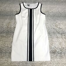 Talbots Sheath Dress Womens Size 16 Sleeveless White Black Stripe $159