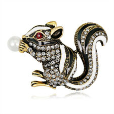 Cute Black White Enamel Rhinestone Squirrel Brooches Gold Plated Brooch Pin