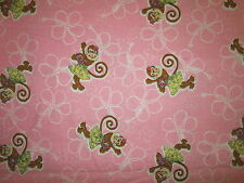 MONKEYS MONKEY TROPICAL GRASS SKIRTS HIBISCUS PINK COTTON FLANNEL FABRIC FQ