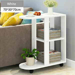 Modern 2 Tier Side End Tables Coffee Tray Sofa Bed Side Console Stand Home White