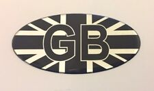 GB Union Jack Bandera Ovalado 75 mm STICKER/DECAL-Cromo/negro brillante abovedado Gel