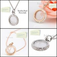 Exclusive Stainless Steel Necklace Pendant Swarovski Crystals Silver Rose Gold