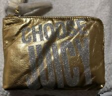 """Juicy Couture """"Choose Juicy"""" Gold Leather Wristlet"""