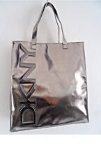 DKNY METALLIC FAUX LEATHER LARGE SHOPPER TOTE Bag