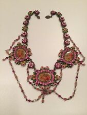 Michal Negrin Swarovski Crystal Flowers Roses Circles Vintage Style Necklace