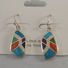 COLORFUL MULTI INLAY STERLING SILVER DANGLE EARRINGS