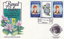 BEQUIA 1982 BIRTH OF PRINCE WILLIAM 50c GUTTER PAIR FIRST DAY COVER (b)