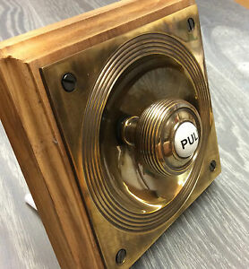 CLAVERLEY ANTIQUE BRASS PERIOD DOORBELL PULL (*ATC)