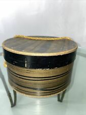 1940s Hat or Wig Box With Rope Handle With Woman's Hair Piece! 8�x4�