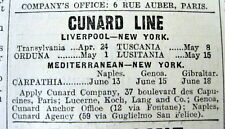 1915 Paris FRANCE English language newspaper w AD for RMS LUSITANIA ocean liner