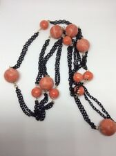52 Inch Black Necklace With Coral Colored Beads