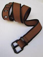 "Women Jeans Black Brown Fabric Classic Fashion Belt Black Buckle 32""-38"" M/L"