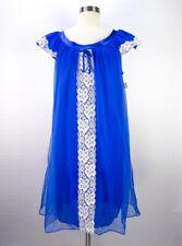 Vintage 60s Blue Babydoll Nightgown M/L Double Nylon Chiffon Lace Satin NOS