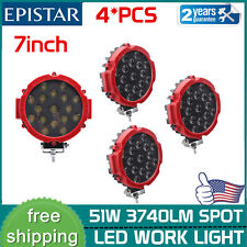 4X 51W 7inch LED Work Lights Pods Off Road Backup Driving Marine Pickup Trailer