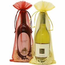 """20 Designer Wine Organza Fabric Gift Bags Party Gift Bags Large 15"""" By 6.5"""""""