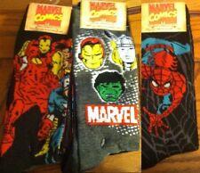 Marvel comics socks Ironman Hulk + Thor Faces Spiderman size 6-12 6 pairs super