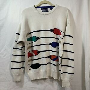 Vintage 90s Hathaway Hand Intarsia Rowing Oars Knit Sweater Men's Large Cotton
