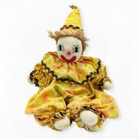"""Vintage Knit Clown Sock 19"""" Plush Handmade Yellow Outfit Stuffed Toy Doll"""