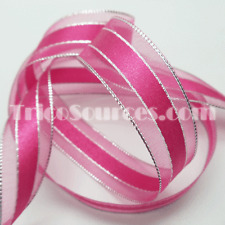 "Craft Favor Organza Ribbon Silver Edge Baby Shower Ribbon 7/8""(22mm)x25YDS-B4029"