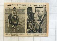 1953 8-yr-old Janet Curle Staines Riding Bull Tractor Driver Jim Law Hillsboro