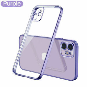 For iPhone 12 Pro Max 11 XS XR 8 7 Shockproof Plating TPU Clear Back Case Cover