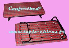 Lit avec sommier pour chiens 65 x 45 cm, matelas dehoussable rouge ecossais