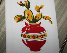 NEW Retro Vintage Style Cotton Flour Sack 50's Kitchen Towels with 'RED CACTUS'