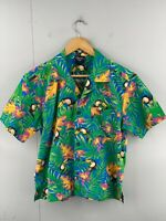 Kevin's Men's Vintage Short Sleeve Hawaiian Toucan Bird Shirt Size S Green