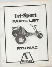 Reproduction Alsport Tri-Sport Parts List Manual RTS MAC