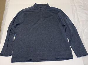 Greg Norman 1/4 Button Up Dark Heather Blue Navy XXL Pullover Sweater EUC