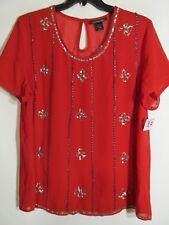 Ashley Stewart women Plus 18/20 Red BLING short sleeve NWOT Lot#53
