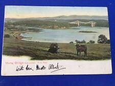 Postcard Menai Bridge from Llanfair Postmark 1904 Peacock Brand Trade Mark
