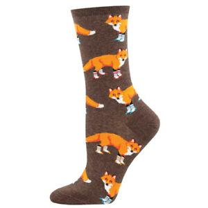 Socksmith Womens Crew Socks Fox Socksy Foxes Brown Fun Novelty Footwear New