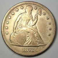 1872 Seated Liberty Silver Dollar $1 - VF / XF Details - Rare Early Type Coin!