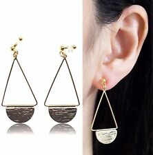 Clip on Earrings Dangle Gold Half Disc Invisible Clip on Earrings MiyabiGrace