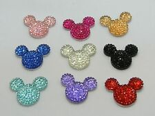20 Mixed Color Flatback Resin Rhinestone Mouse Head Cabochon Gems 24X20mm