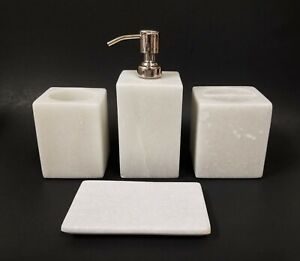 NEW SET OF 4 SOLID WHITE MARBLE STONE SOAP,CHROME DISPENSER,DISH,TUMBLER,TOOTHBR