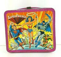 Aladdin Industries Super Friends Vtg Metal Lunch Box Super Heroes Villans 1976