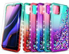 Para iPhone 11 Pro Max 11 Pro Funda Cubierta Brillante Ostentoso líquido con vidrio templado