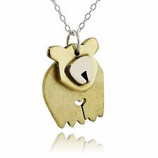Dancing Bear Pendant Necklace - Sterling Silver and Brass - Head Moves Bears NEW