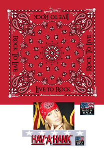 USA MADE Hav-A-Hank BRET MICHAELS of Poison Live To Rock Bandana Paisley Scarf