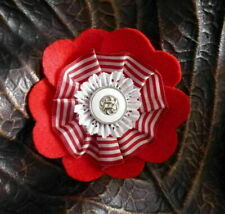 Handmade textile flower brooch with felt, lace and button - red, white