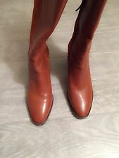 ZARA Women's Tall Boots with zipper(Leather,  US 8/EUR 39)
