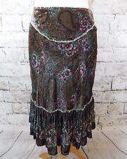 """Ted Baker lined skirt 1 8 waist 28"""" floral velvet boho gypsy folk festival soft"""