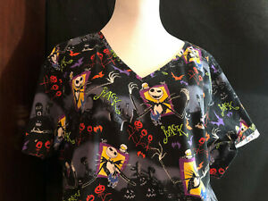 Scrubs Scrub Top Disney Cartoon Nightmare Before Christmas 2XL XXL (H94)