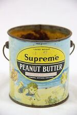 Vintage Morris Supreme Peanut Butter Tin Can Litho Beach