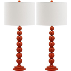 Jenna 31 in. Dark Red Stacked Ball Table Lamp with Off-White Shade (Set of 2)