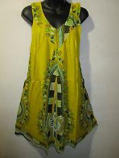 Dress Fits M L XL 1X Sundress Yellow Dashiki Tribal Mini Dress V Neck NWT 661