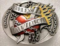 Harley Davidson Belt Buckle Flame Chains Heart Sword 2004 USA